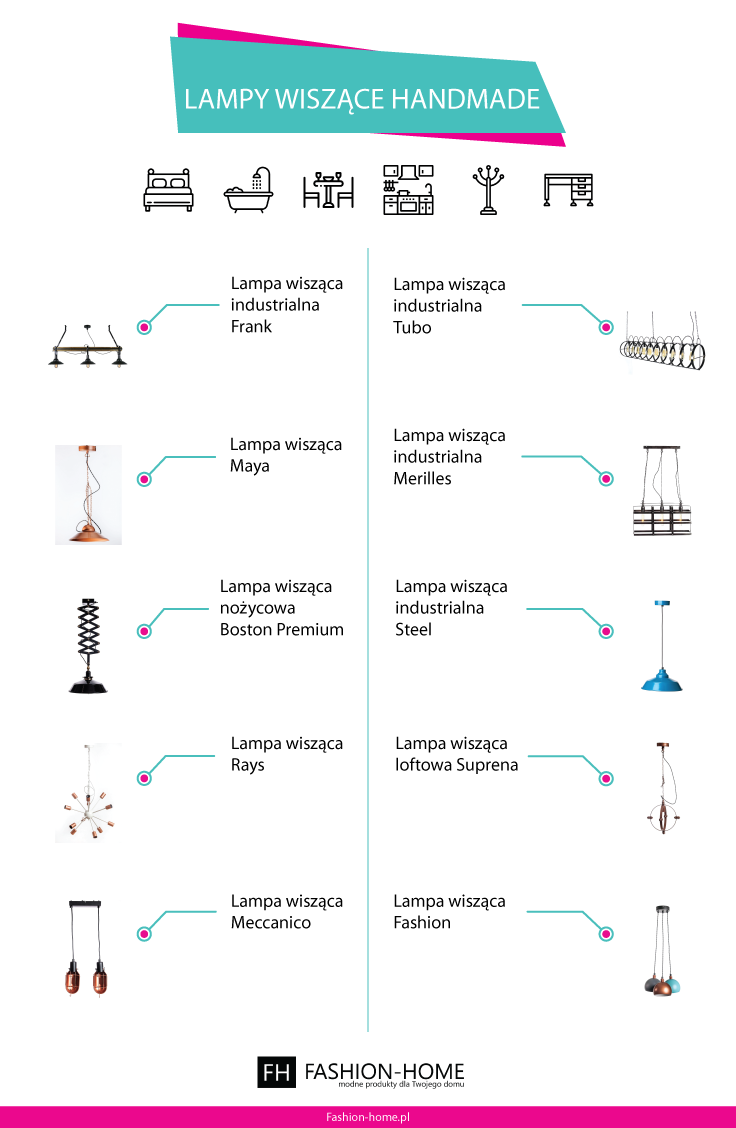 Lampy wiszace handmade - Infografika - Fashion-home